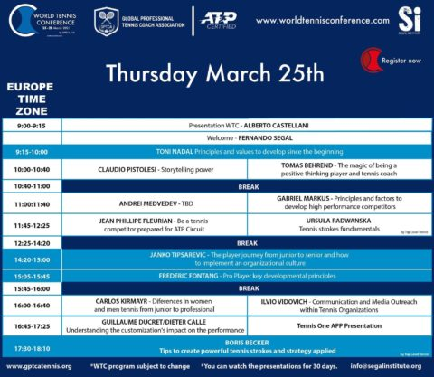 WORLD TENNIS CONFERENCE by GPTCA/SI 2021 – First Day Program
