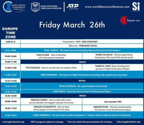 WORLD TENNIS CONFERENCE by GPTCA/SI 2021 – Second Day Program