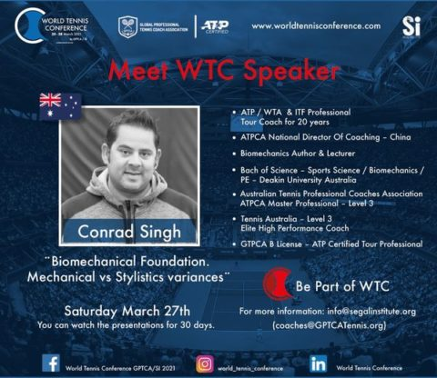"""WORLD TENNIS CONFERENCE by GPTCA/SI 2021 – """"Meet the speaker"""" Conrad Singh"""