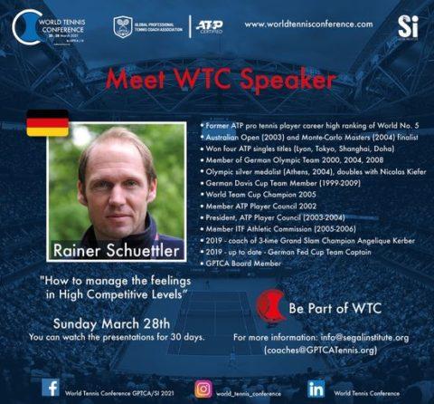 "WORLD TENNIS CONFERENCE by GPTCA/SI 2021 – ""Meet the speaker"" Rainer Schuettler"