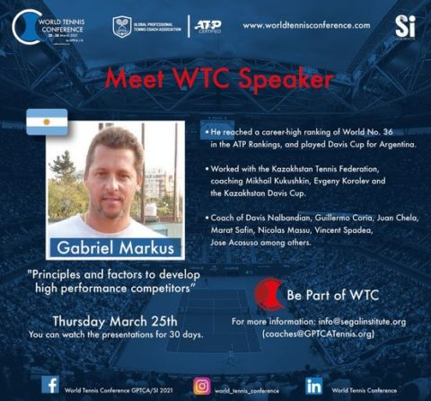 "WORLD TENNIS CONFERENCE by GPTCA/SI 2021 – ""Meet the speaker"" Gabriel Markus"