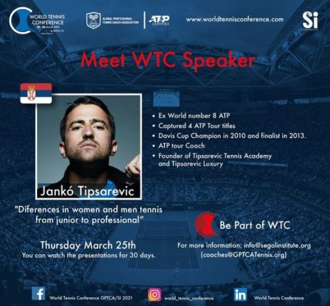 """WORLD TENNIS CONFERENCE by GPTCA/SI 2021 – """"Meet the speaker"""" Janko Tipsarevic"""