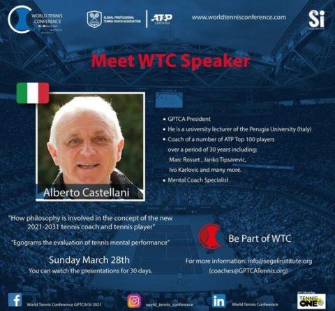 "WORLD TENNIS CONFERENCE by GPTCA/SI 2021 – ""Meet the speaker"" Alberto Castellani"