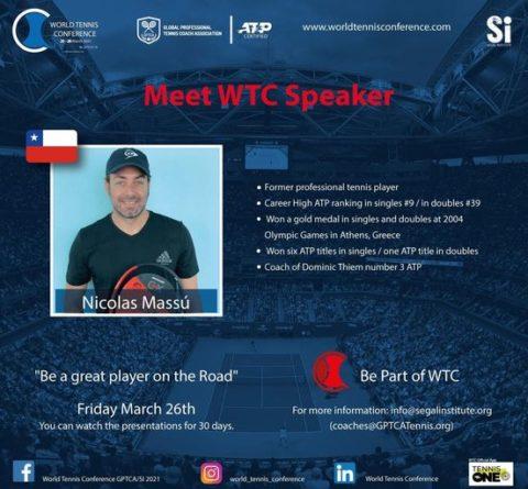 "WORLD TENNIS CONFERENCE by GPTCA/SI 2021 – ""Meet the speaker"" Nico Massu"