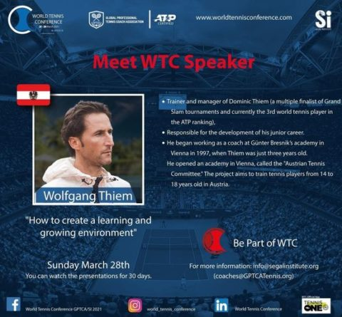 """WORLD TENNIS CONFERENCE by GPTCA/SI 2021 – """"Meet the speaker"""" WOLFGANG THIEMOn"""