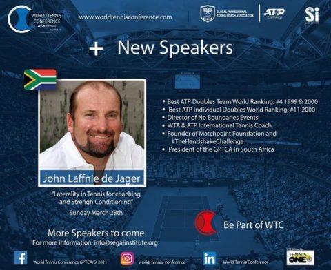 "WORLD TENNIS CONFERENCE by GPTCA/SI 2021 – ""New speaker on the block"" John Laffnie de Jager (JL)"
