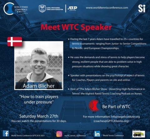 """WORLD TENNIS CONFERENCE by GPTCA/SI 2021 – """"Meet the speaker"""" Adam Blicher"""