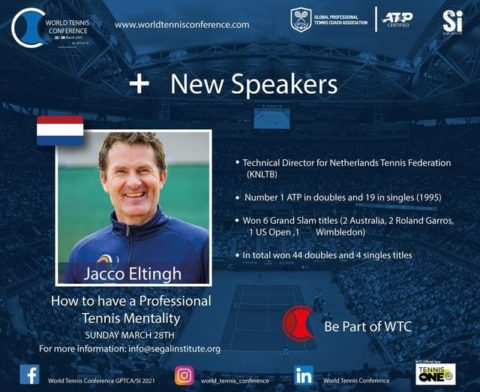 """WORLD TENNIS CONFERENCE by GPTCA/SI 2021 – """"New speaker on the block"""" Jacco Eltingh"""