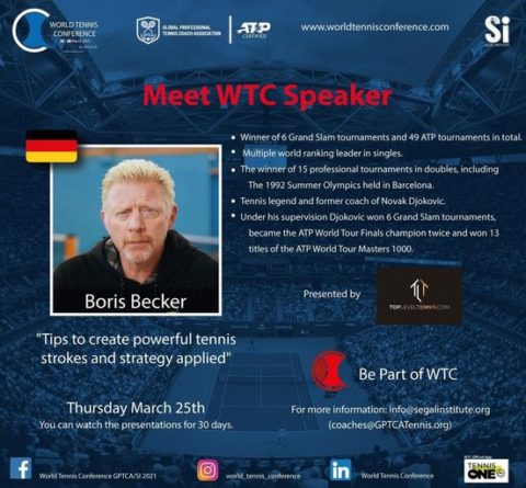 "WORLD TENNIS CONFERENCE by GPTCA/SI 2021 – ""Meet the speaker"" Boris Becker"
