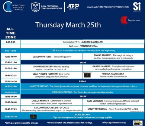 WORLD TENNIS CONFERENCE by GPTCA/SI 2021 – Updated programWhat a day ONE!!! We have on Thursday, March 25th: