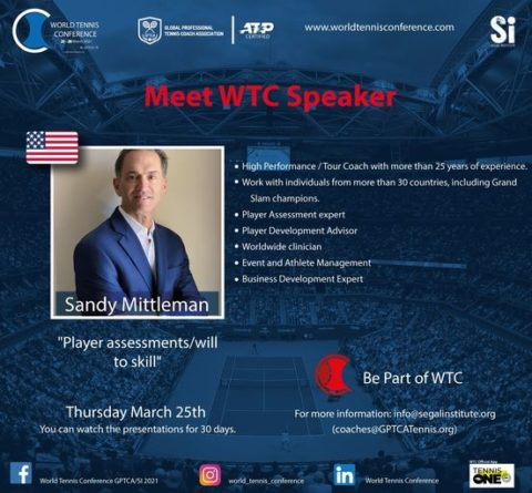 "WORLD TENNIS CONFERENCE by GPTCA/SI 2021 – ""Meet the speaker"" Sandy Mittleman"