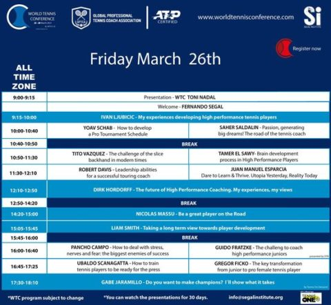 WORLD TENNIS CONFERENCE BY GPTCA/SI 2021 – Updated programWTC Program, incredible second day!! Friday March 26th.