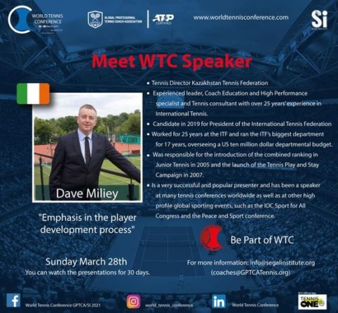 """WORLD TENNIS CONFERENCE by GPTCA/SI 2021 – """"New speaker on the block"""" Dave Miley"""